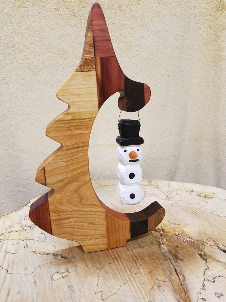Patchwork Christmas Tree with Hand Carved Snowman Ornament